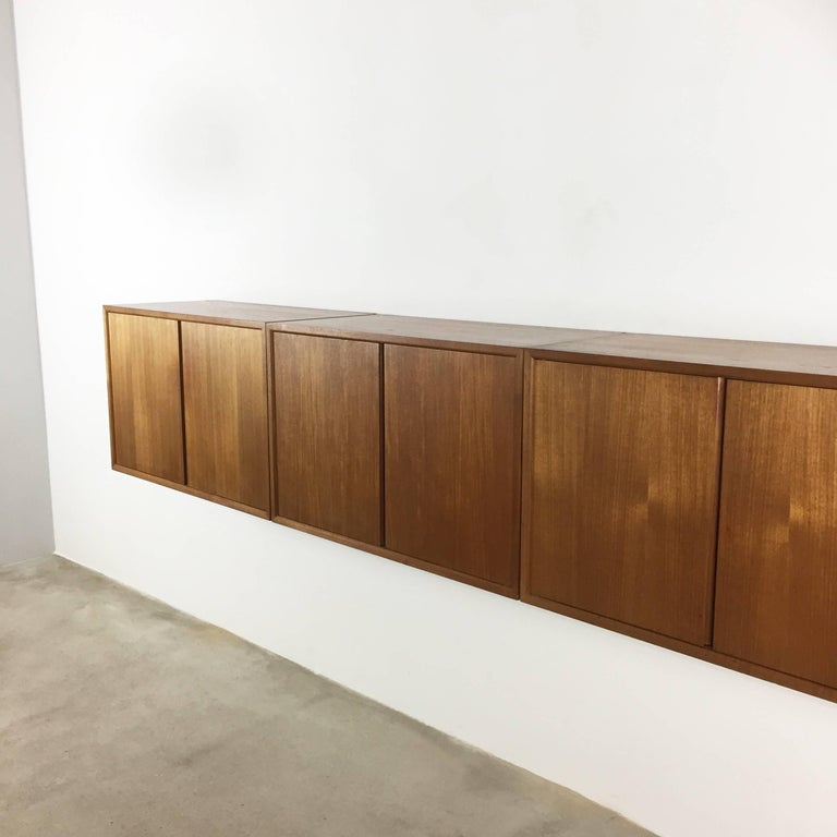 Wood Original 1960s Floating Modular Teak Wall Unit by Poul Cadovius for Cado Denmark For Sale