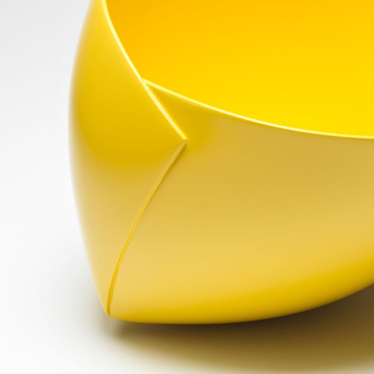 Belgian Yellow Origami Bowl by Ann Van Hoey For Sale