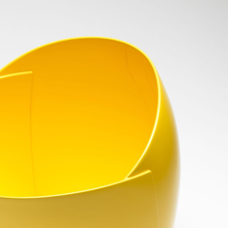 Hand-Crafted Yellow Origami Bowl by Ann Van Hoey For Sale