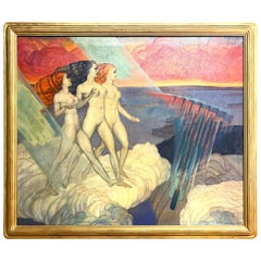 """Origin of Iron,"" Large Art Deco Allegorical Painting with Female Nudes, 1937"