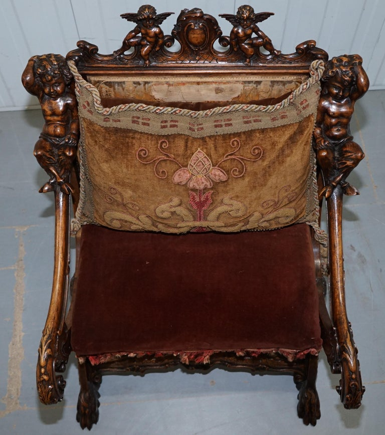 Original 17th Century Andrea Brustolon Hand Carved Italian Walnut Armchair In Fair Condition For Sale In London, GB