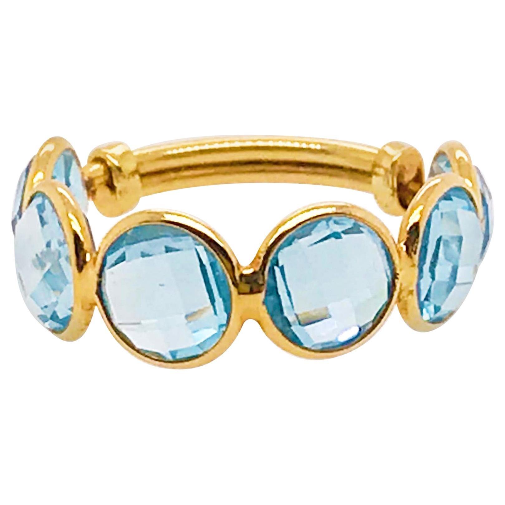 Original 18 Karat Gold Blue Topaz Gemstone Adjustable Band, 18 Karat Yellow Gold