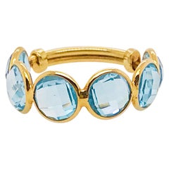 Original 18 Karat Gold Blue Topaz Gemstone Adjustable Band, 18 Karat Yellow Gold