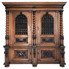 Original 1875 Historicism Column Cabinet from a Castle Near, Vienna