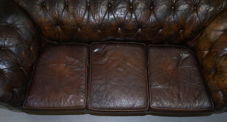 Original 1880 Brown Leather Victorian Chesterfield Club Sofa Horse Hair Filled For Sale 4