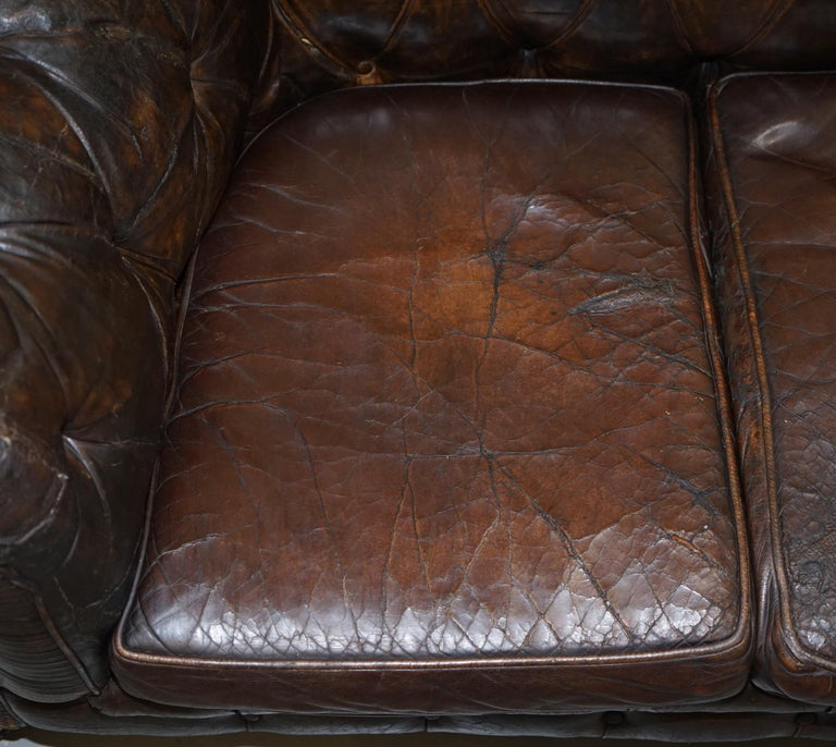 Original 1880 Brown Leather Victorian Chesterfield Club Sofa Horse Hair Filled For Sale 5