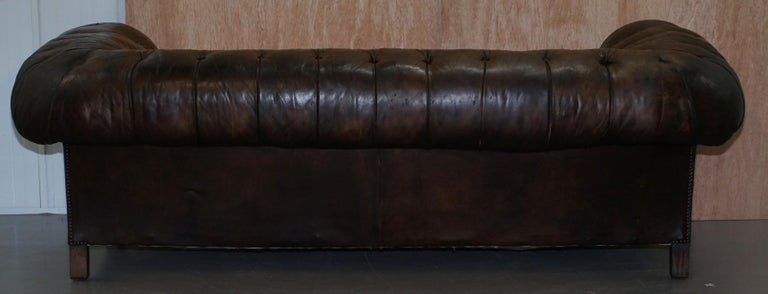Original 1880 Brown Leather Victorian Chesterfield Club Sofa Horse Hair Filled For Sale 8