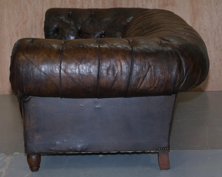 Original 1880 Brown Leather Victorian Chesterfield Club Sofa Horse Hair Filled For Sale 10