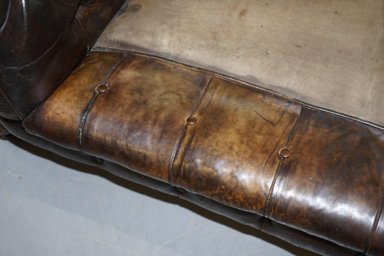 Original 1880 Brown Leather Victorian Chesterfield Club Sofa Horse Hair Filled For Sale 12