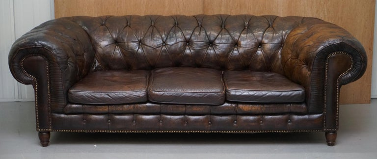 We are delighted to offer for sale this stunning original antique Victorian upholstery horse hair filled leather Chesterfield sofa  A very good looking well made and period classic piece. This is the first original hide sofa I think I've seen in
