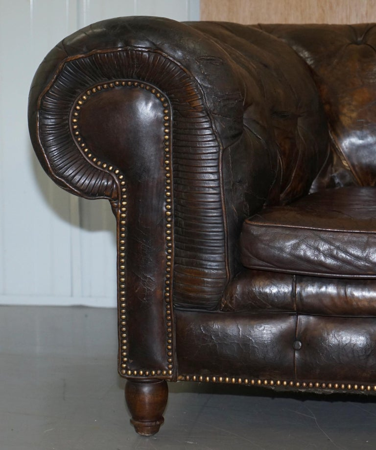 English Original 1880 Brown Leather Victorian Chesterfield Club Sofa Horse Hair Filled For Sale
