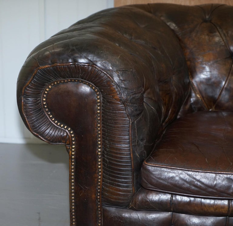 Hand-Crafted Original 1880 Brown Leather Victorian Chesterfield Club Sofa Horse Hair Filled For Sale