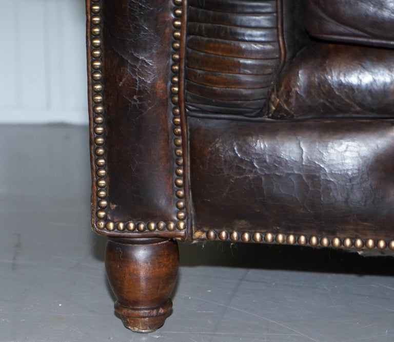 Original 1880 Brown Leather Victorian Chesterfield Club Sofa Horse Hair Filled In Distressed Condition For Sale In London, GB