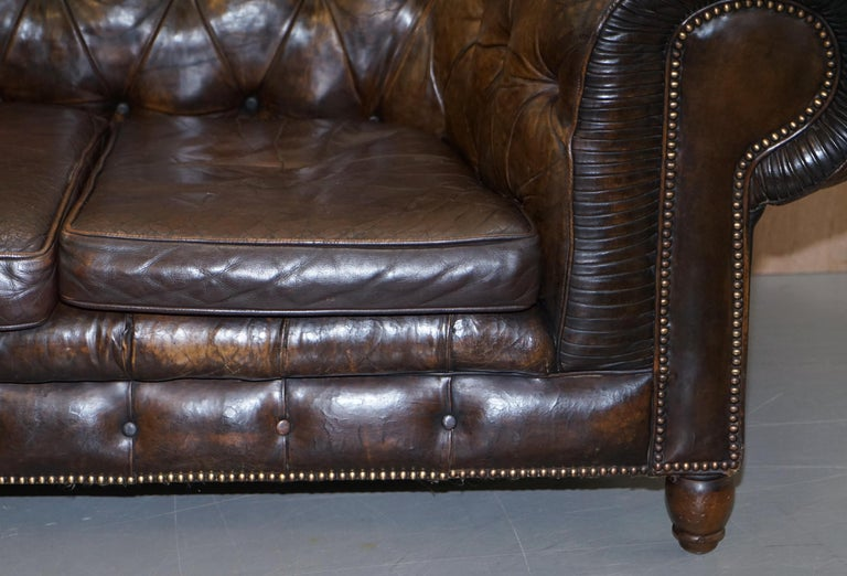 Late 19th Century Original 1880 Brown Leather Victorian Chesterfield Club Sofa Horse Hair Filled For Sale