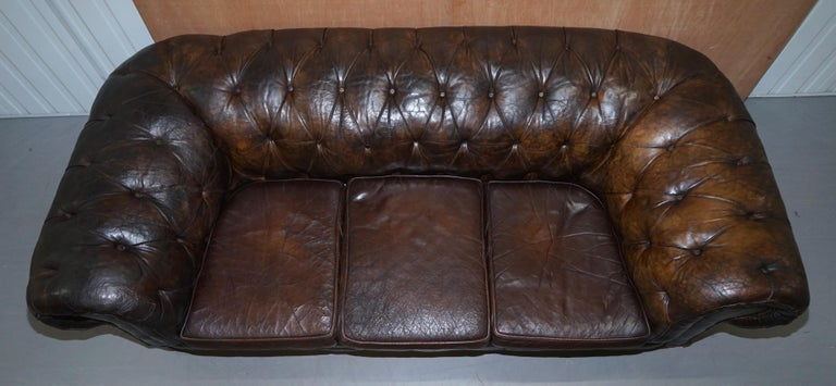 Original 1880 Brown Leather Victorian Chesterfield Club Sofa Horse Hair Filled For Sale 1
