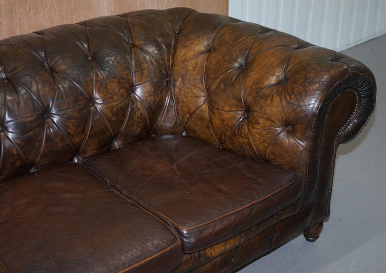 Original 1880 Brown Leather Victorian Chesterfield Club Sofa Horse Hair Filled For Sale 2