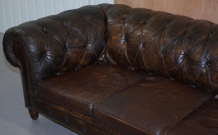 Original 1880 Brown Leather Victorian Chesterfield Club Sofa Horse Hair Filled For Sale 3