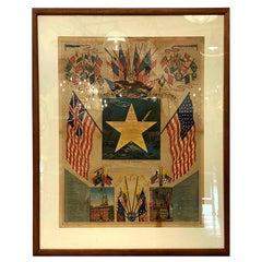 Original 1880s Framed Poster of The USA Flag