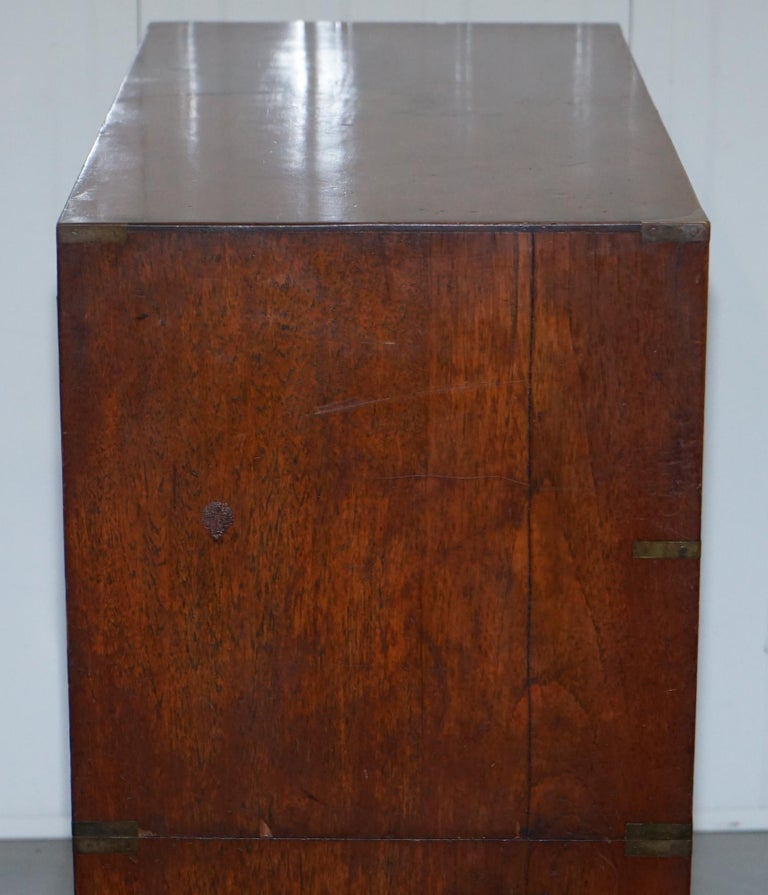 Original 1890 Army & Navy C.S.L Stamped Campaign Chest of Drawers Including Desk For Sale 2