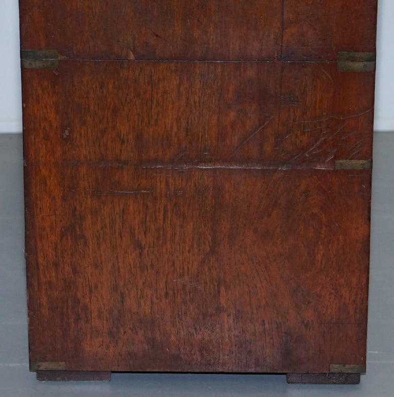 Original 1890 Army & Navy C.S.L Stamped Campaign Chest of Drawers Including Desk For Sale 3