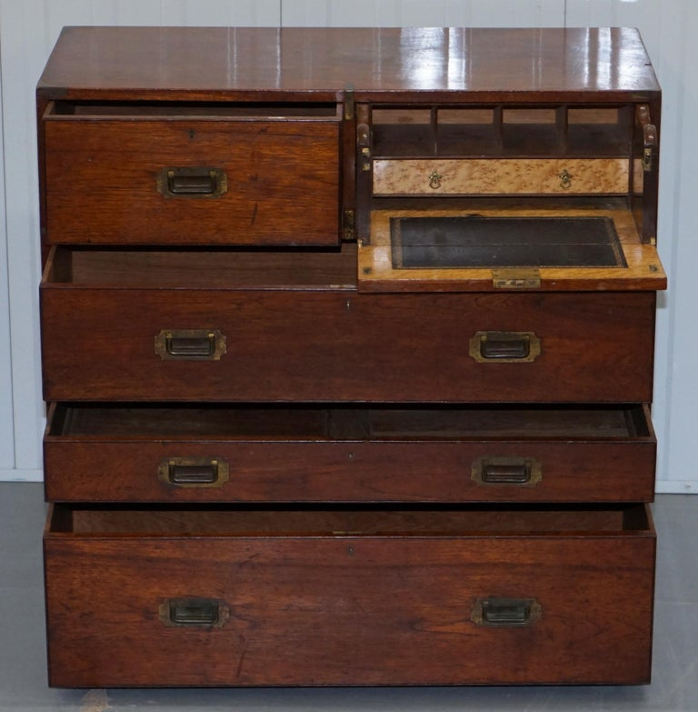 Original 1890 Army & Navy C.S.L Stamped Campaign Chest of Drawers Including Desk For Sale 5