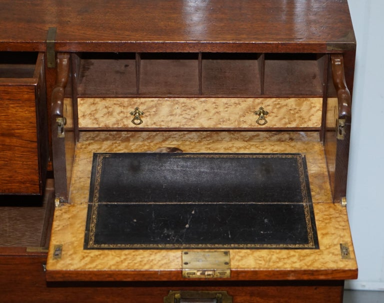 Original 1890 Army & Navy C.S.L Stamped Campaign Chest of Drawers Including Desk For Sale 6