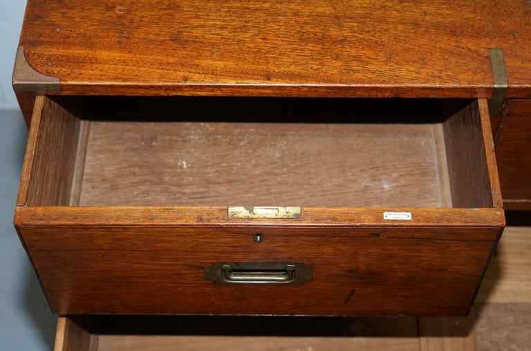 Original 1890 Army & Navy C.S.L Stamped Campaign Chest of Drawers Including Desk For Sale 12