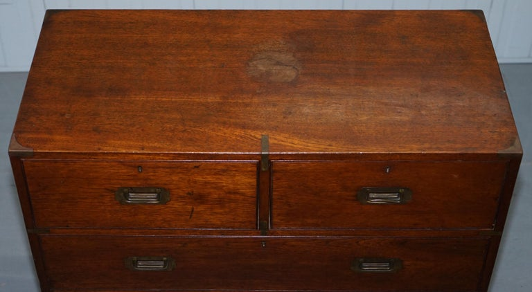 Original 1890 Army & Navy C.S.L Stamped Campaign Chest of Drawers Including Desk In Good Condition For Sale In , Pulborough