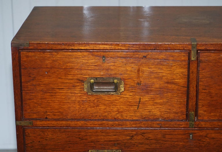 19th Century Original 1890 Army & Navy C.S.L Stamped Campaign Chest of Drawers Including Desk For Sale