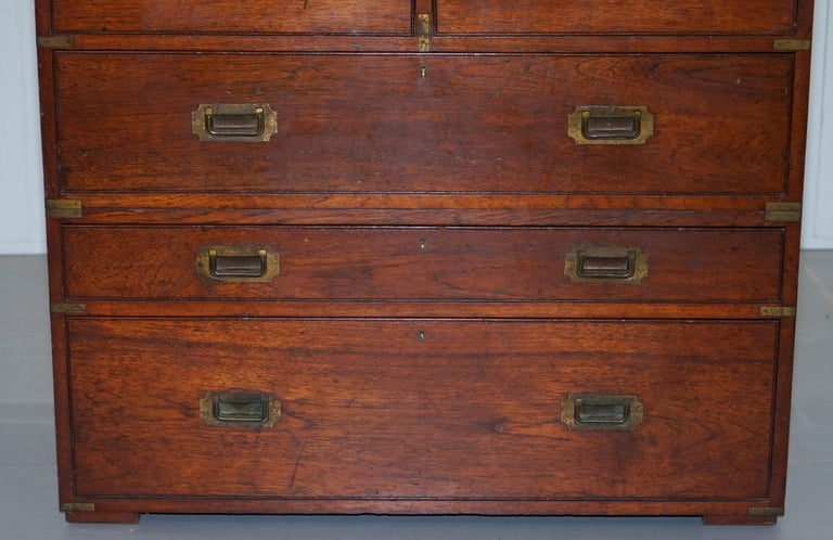 Brass Original 1890 Army & Navy C.S.L Stamped Campaign Chest of Drawers Including Desk For Sale