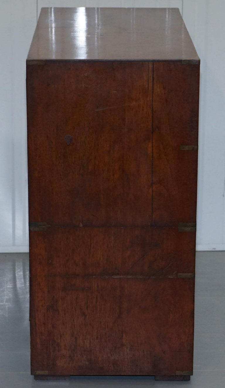 Original 1890 Army & Navy C.S.L Stamped Campaign Chest of Drawers Including Desk For Sale 1