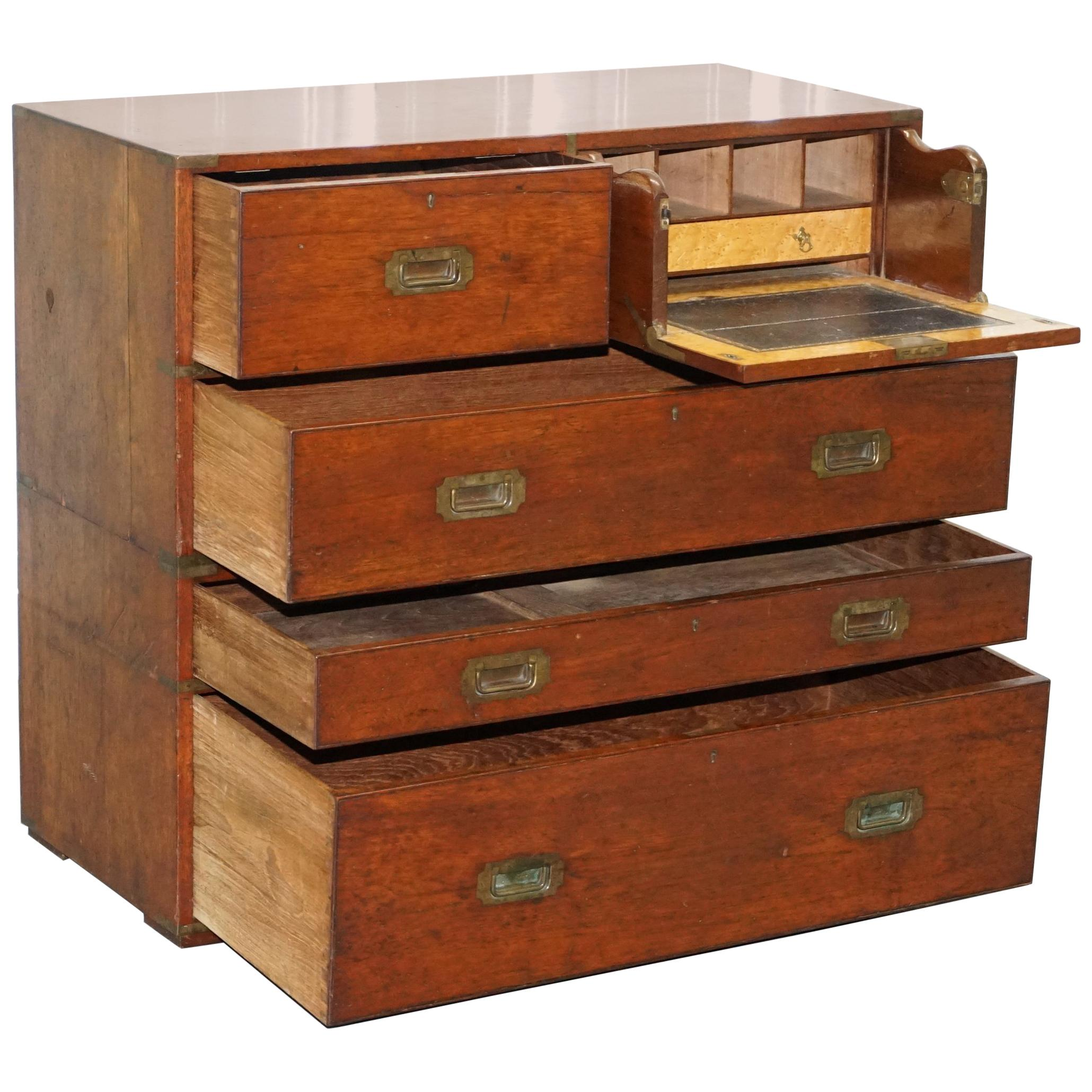 Original 1890 Army & Navy C.S.L Stamped Campaign Chest of Drawers Including Desk