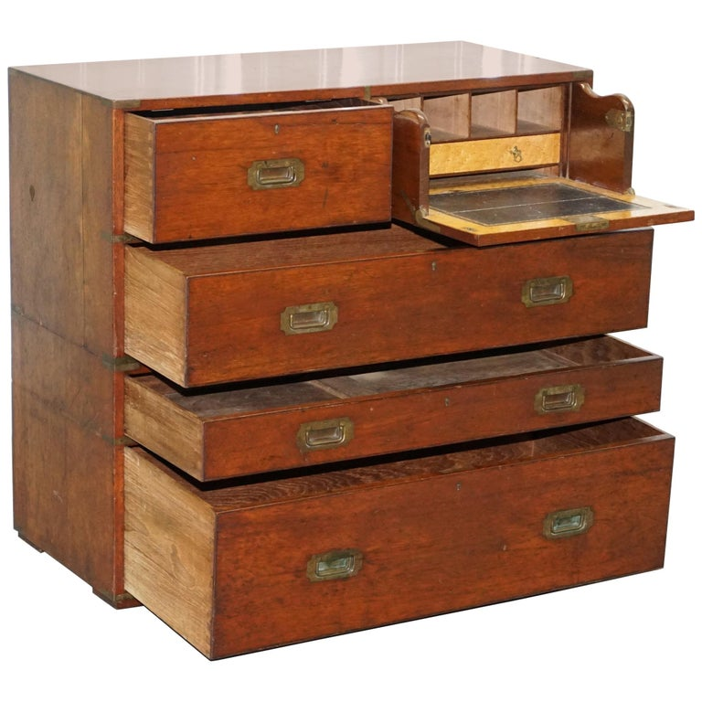 Original 1890 Army & Navy C.S.L Stamped Campaign Chest of Drawers Including Desk For Sale