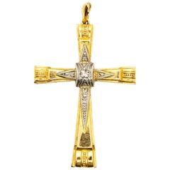Original 18 Karat Gold and Platinum Diamonds Cross