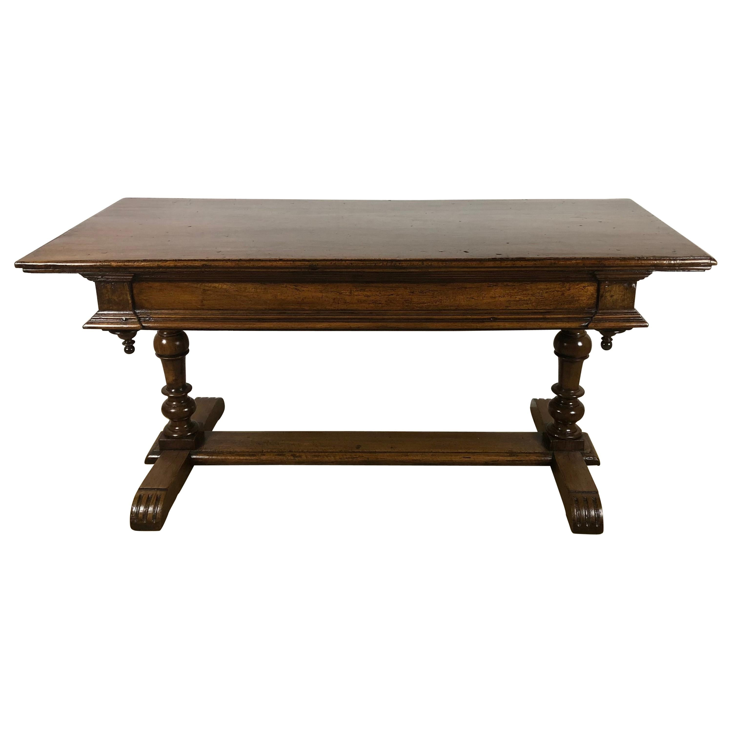 Original 18th Century French Louis XIII Walnut Library, Console, Display Table