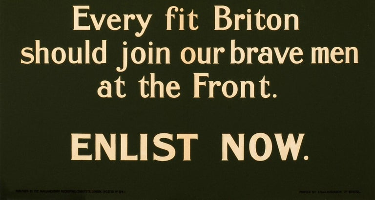 Early 20th Century Original 1915 WWI Recruitment Poster At The Front! Every Fit Briton Should Join For Sale
