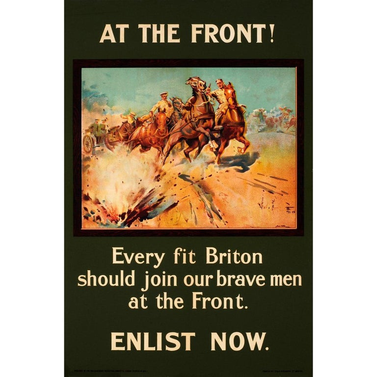 Original 1915 WWI Recruitment Poster At The Front! Every Fit Briton Should Join For Sale