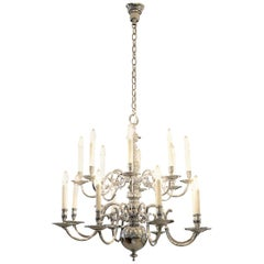 Original 1920 Austro Hungary Baroque-Flemish Style Chandelier, Chrome Plated