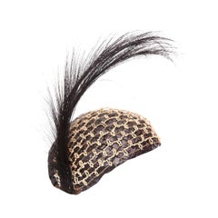 Original 1920s Black Raffia & Feather Flapper Hat