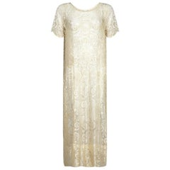 Original 1920s Cream Machined Lace Bridal Dress