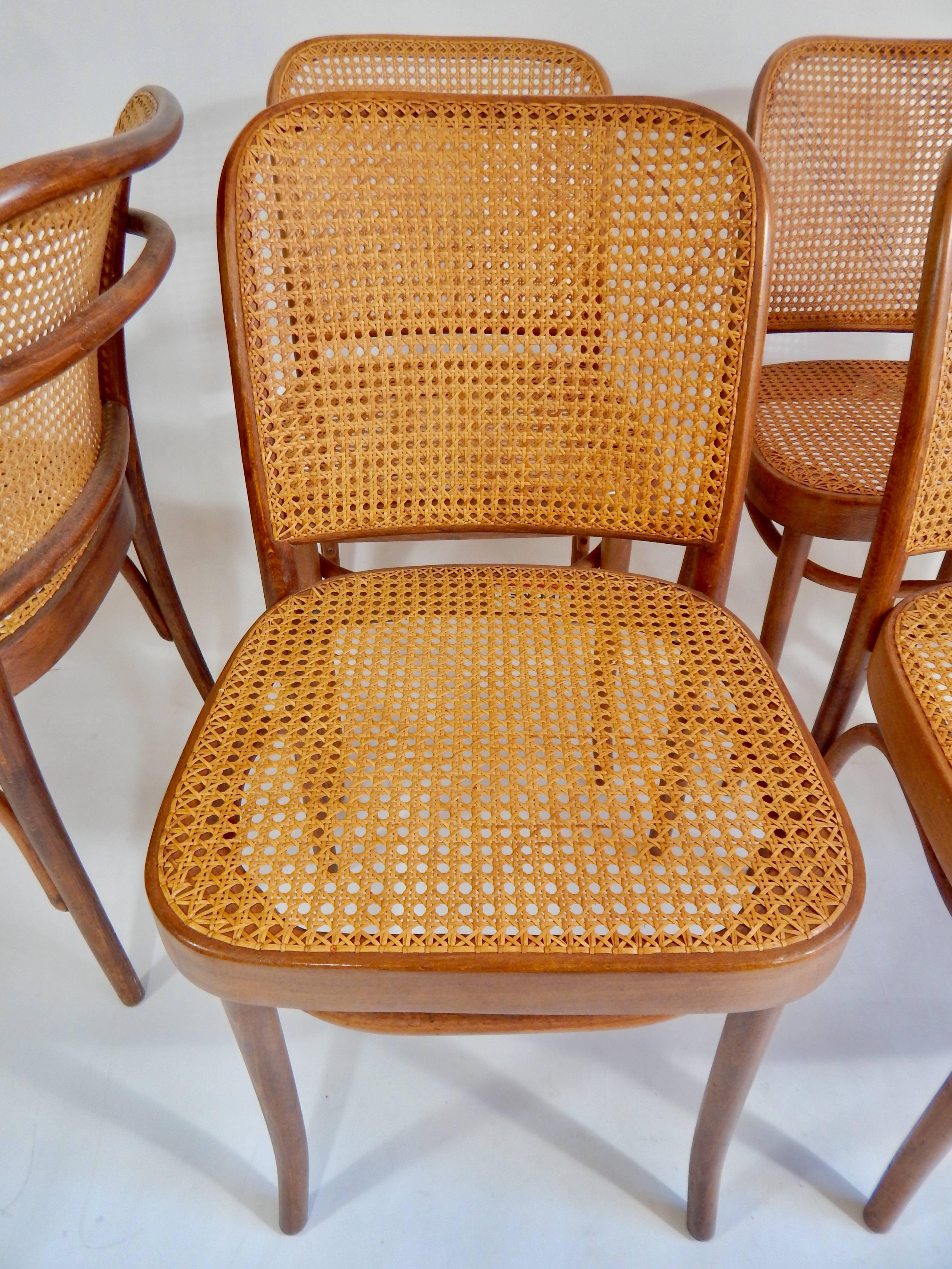 Caning Original 1920s Josef Hoffmann Thonet Bentwood Cane Chairs, Poland  For Sale
