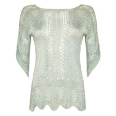Original 1920s Pale Green Crochet Jumper With Scalloped Edge