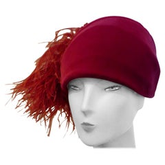 Original 1920s Vintage Red Velvet and Ostrich Feather Cloche Hat