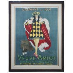 Original 1922 Cappiello Leonetto Cremant Du Roi French Wine Poster Veuve Amiot