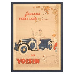 "Original 1922 ""I'm Going to See You in my Voisin"" Poster-Framed"