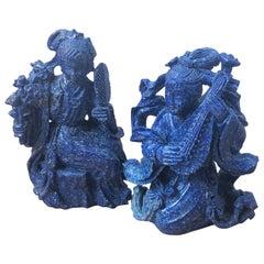 Original 1930 Chinese Export Natural Lapis Lazuli Two Dames Sculptures