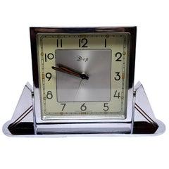 Original 1930s Art Deco Chrome Clock by Dep