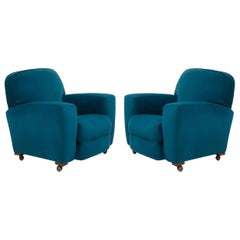 Original 1930s Art Deco Curved Blue Teal Velvet Armchairs, Newly Upholstered
