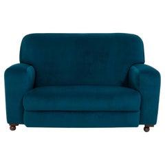 Original 1930s Art Deco Curved Blue Teal Velvet Sofa Newly Upholstered