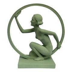 Original 1930s Art Deco 'Girl In Hoop' Figure